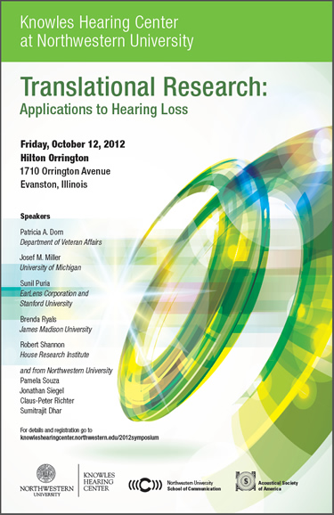 Translational Research:<br /><br /> Applications to Hearing Loss,<br /><br /> October 12, 2012